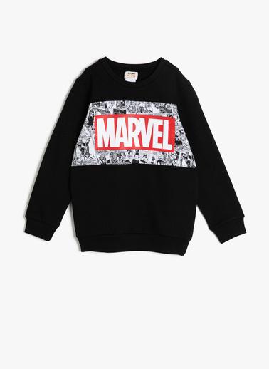 Koton Kids Marvel Lisanslı Baskılı Sweatshirt Siyah